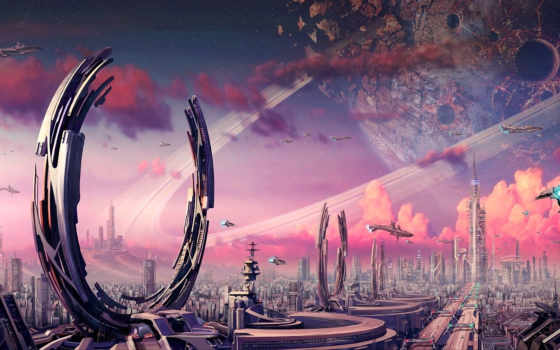 кратер, кольца, планета, камни, фантастика, арт, город, кнопкой, правой, fantasy, картинку,