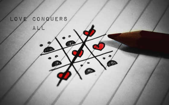 крестики-нолики сердечками