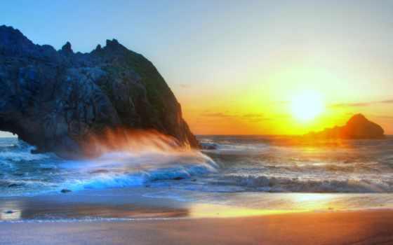 море, sun, песок, пляж, waves, небо, природа, рисунок,