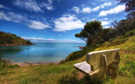 природа, скамейка, море