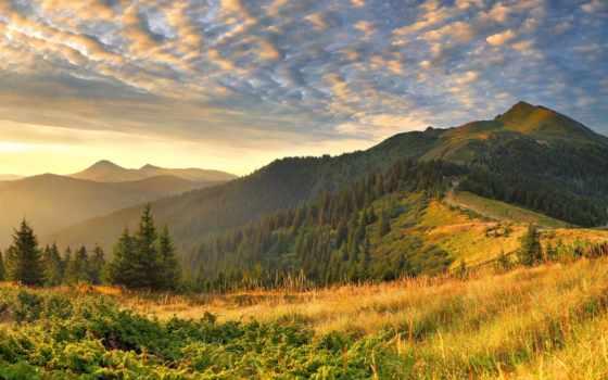 широкоформатные, свет, трава, облако, горы, природа, пейзажи -, oblaka, утро, холмы, widescreen,