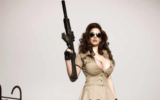 девушка, оружие, акпп, devushki, грудь,
