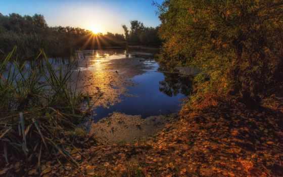 осень, река, над, warm, утро, фотограф