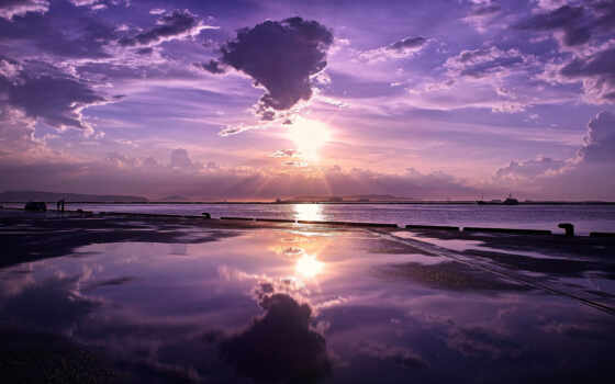 берег, океан, море, причал, пристань, даль, закат,