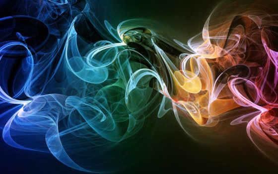 дым, multicolored, яркий, форма, телефон, свет, заставки, линии, fractal, дек, взгляд,