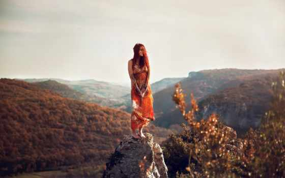 девушка, камень, lorene, горы,