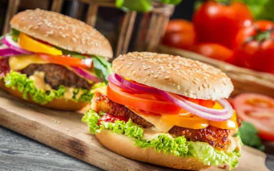 фастфуд, помидоры, батон, производить, доска, еда, фуд, fast, сыр, гамбургер, перец,