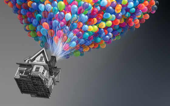 воздушные, шары, shariki, house, разноцветные, серый,