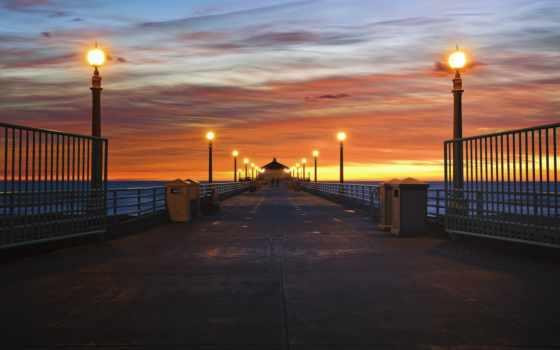 сша, pier, ocean, побережье, фонари, берег, california, небо, освещение, рисунки,