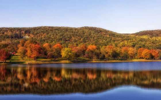 connecticut, landscape, пруд, squantz, free, пасть, осень, scenic, фото, изображение,