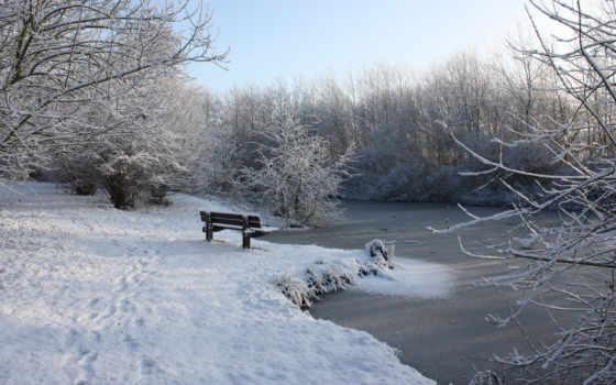 ecran, hiver, fond, fonds, neige, paysage, banc, windows, природа,
