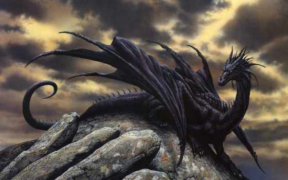 дракон, black, девушка,