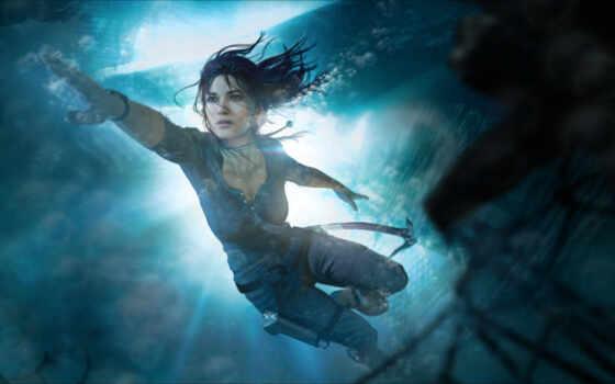 tomb, raider, лара, croft, underwater, девушка, water, под, море, game, плывёт