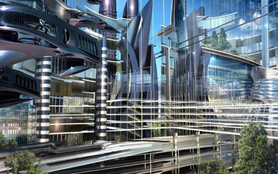 фантастика, будущее, город Фон № 51084 разрешение 1920x1080