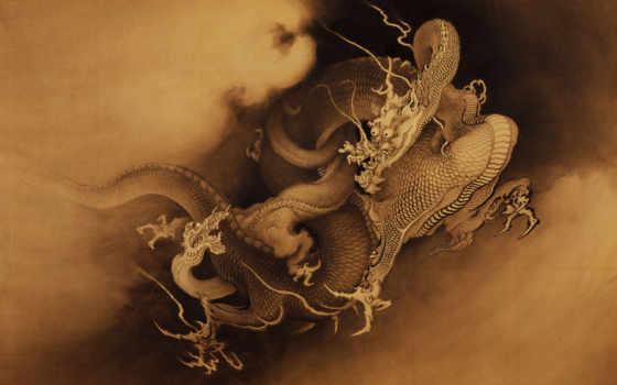 дракон, китаянка, drawn