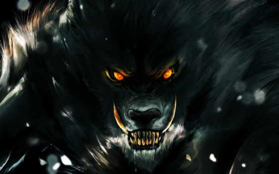 ухмылка, волк, werewolf, зубы, rage, оборотни, fantasy, darkness, взгляд,