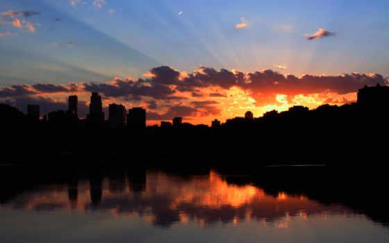 закат, со, город