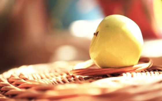 apple, макро, плетеной, белое, подставке, summer, еда, жёлтое, яблоки, дерево,