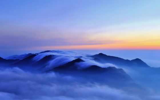 горы, туман, холмы, oblaka, blue, iphone, качество, высокое, landscape,