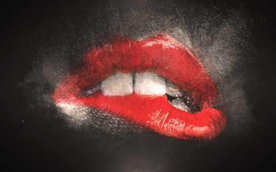 губы, помадой, красной, рисунок, оптом, картинка, губ, красные, помаде, маслом,