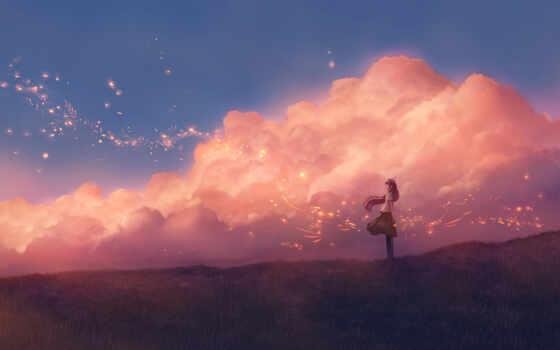 anime, облако, девушка, фон, фото, art, digital, ноутбук, artwork, artist