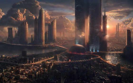 город, небоскребы, будущее