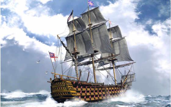 корабли, парусные, парусники