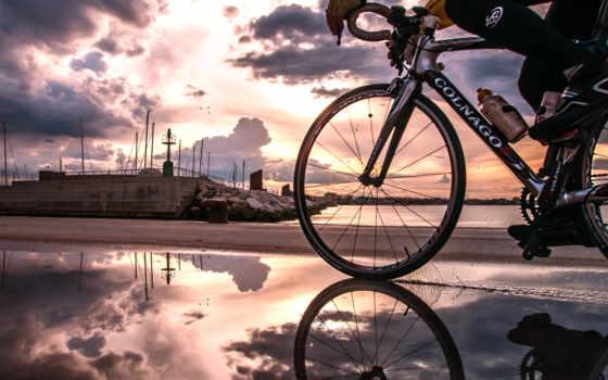 colnago, велосипед, велосепидист, набережная, океан,