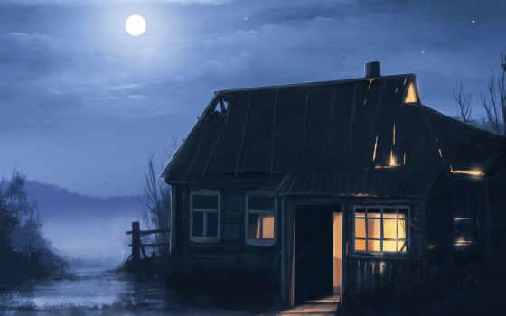 луна, ночь, дерево, house, art, пустош,
