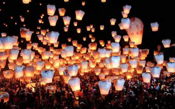 фонарики, небо, горящие
