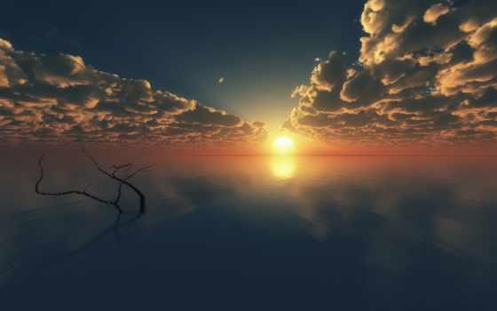 горизонт, закат, oblaka