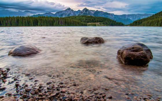 взгляд, два, jack, озеро, lakeside, гора, канада, art, ab, print, banff,