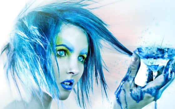 девушка, волосами, голубыми, strand, волос, оттянула, своих,