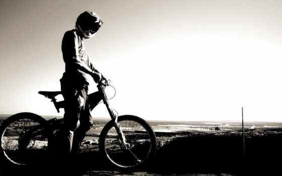 bike, небо, горизонт, шлем, спорт,