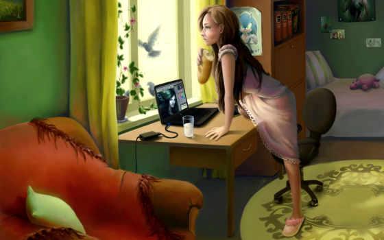 компьютер, art, девушка, птица, интерьер, батон, окно, комната,