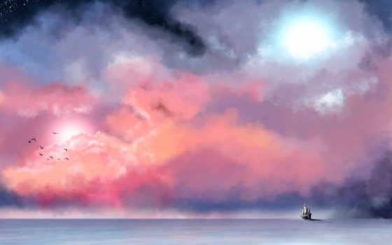 живопись, небо, море, корабль, oblaka, туман, звезды, птицы,