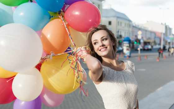 девушка, воздушными, шарами, balloons, девушек, воздушных,