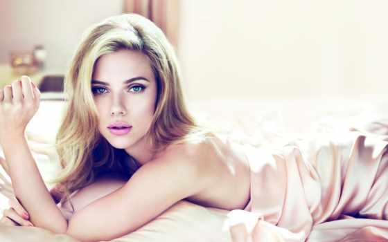 blonde, девушка, скарлетт, йоханссон, актриса, johansson, взгляд, шелк, белье,