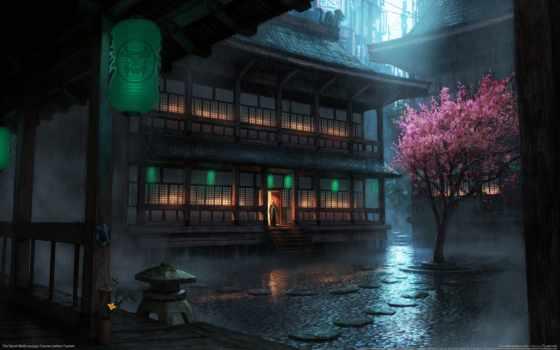 дождь, anime, pikabox, tech, дерево,