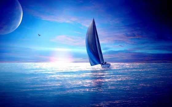 корабль, море, музыка, яхта, лодка, fantasy, закат
