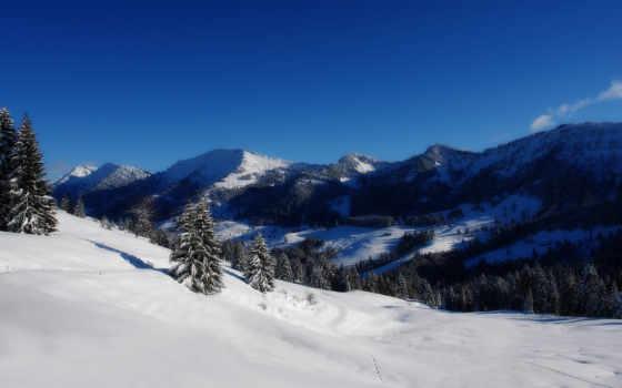 wallpapers, hd, full, горы, зима, wallpaper, снег, alpine, sight, alps, nature, desktop, деревья, blue, зимний, пейзаж, snowy, free,