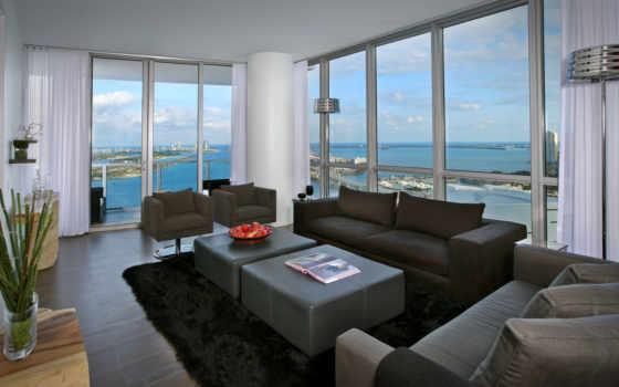 город, интерьер, окна, квартира, комната, мост, вид, miami, dekor, wxga,