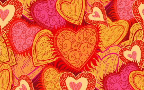 сердечки, оранжевые