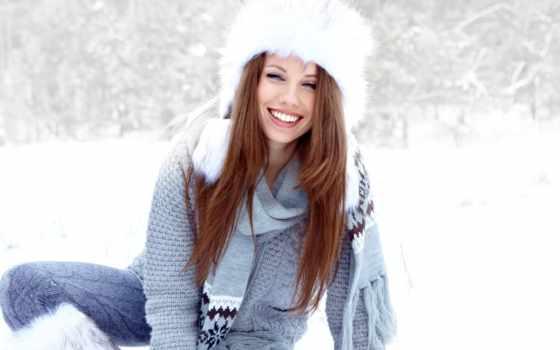 devushka, шапке, меховой, снег, белой, fone, разных, снега,