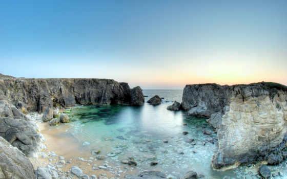 скалы, more, картинка, emerald, фьорды, color, франции, франция, пляж,