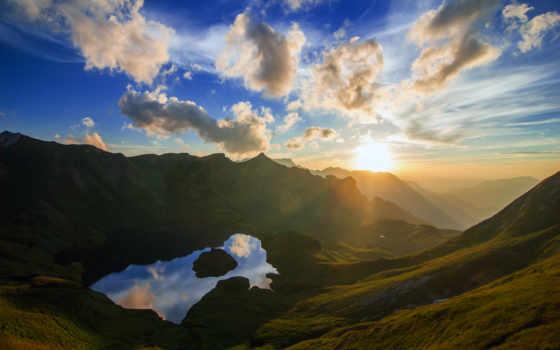 природа, цветы, рассвет, река, german, горах, бавария, volpuri,