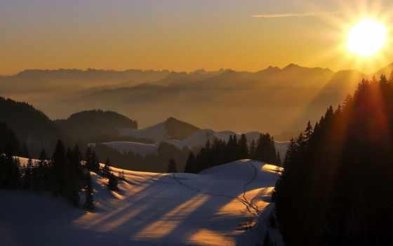 закат, landscape, горы
