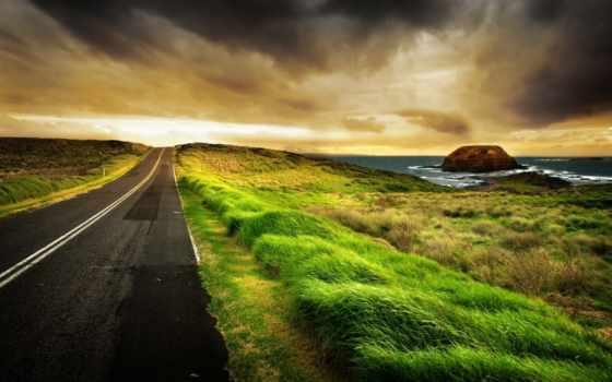 высокого, разрешения, природа, море, дорога, дороги, фоны, скалы, заставки,
