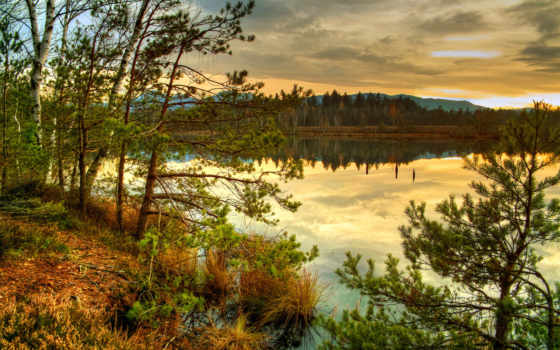 озеро, осень, природа