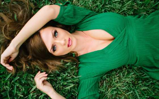 девушка, платье, зеленом, лежит, траве, babes, ridic, aida, devushki, стоит, воде,